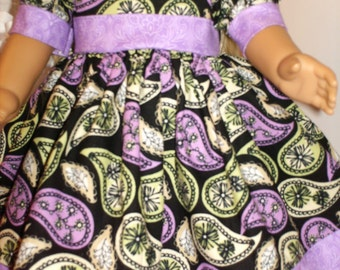 "18"" American Made Girl Doll Clothes Black N Purple Paisley Print Classic Doll Dress 18 inch Dolls"