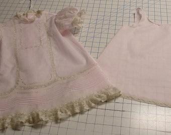 Heirloom dress & slip size 1 pink/ecru Birthday Portrait Wedding Hand embroidery