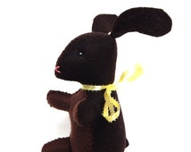ON SALE Chocolate bunny Easter stuffed animal felt food plushie toy or decoration