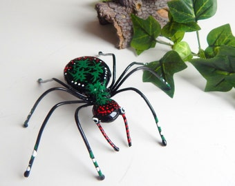 Large Black Spider Christmas Spider Metal One Of A Kind Red, Green, Black and White Birthday Gift Unique Delightful  Arachnid