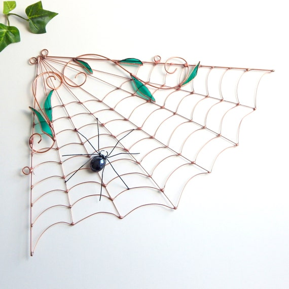 Large Copper Spider Web and Spider Wire Art Wire Bug Home Decor Garden Decor Gift for Gardener Window Display House Warming Gift