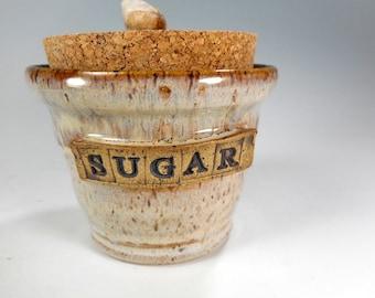 Ceramic sugar bowl with lid, pottery sugar bowl jar with cork lid and rock knob, stoneware cork lidded jar, ceramic sugar bowl,  with SUGAR