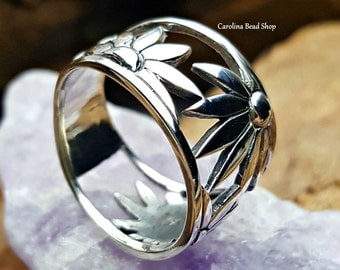 Wide Band Flower Ring - C6259, Size 7, Wholesale Rings