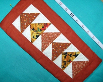 """WALL HANGING Brown and White """"Flying Geese"""" Traditional Quilt Pattern, Hand Quilted, Multicolored Triangles/Small Hanging/Appalachian Made,"""
