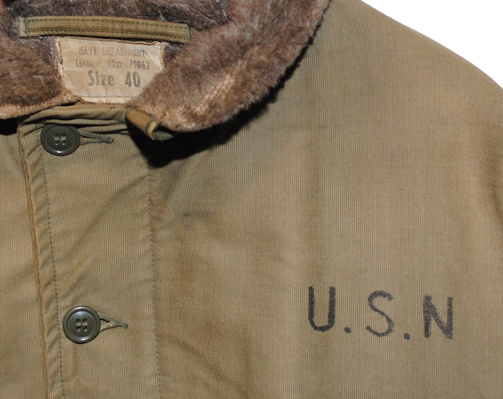 Vintage U.S.N. Tan Authentic Fully Lined Deck Jacket Made in USA - Large