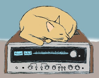 Print from Drawing of a Cat Sleeping on Top of a Vintage Stereo Receiver