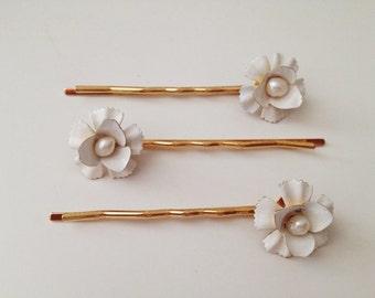 Blandine flower hairpin SET of 3, #1323