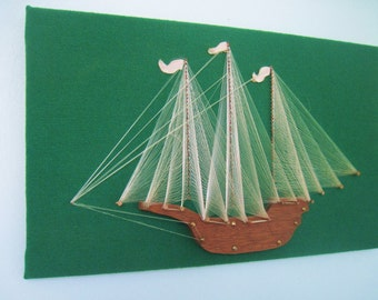 Collectible Vintage Mid Century Nautical Ship String Wall Art