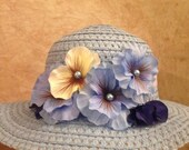 Girls Blue Pansy Hat - Girls Easter Hat - Girls Tea Party Hat - Girls Derby Hat