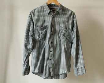 GRUNGE vintage short sleeve COLOR block oxford 90s COTTON striped  button up shirt men's size small oxford