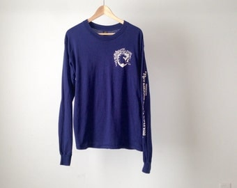 vintage 80s Minnesota Renaissance FESTIVAL faded navy blue GAME of THRONES vintage long sleeve t-shirt top