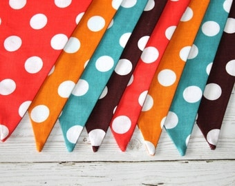Polka Dot - Fabric Bunting - Vintage - Orange - Turquoise - Brown - Gold