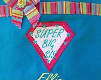 Super Big Sister- aqua tote bag- monogrammed at NO additional charge