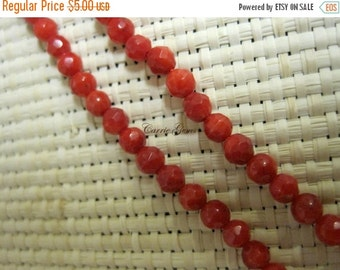 "20% OFF ON SALE Red Bamboo Coral Faceted 4mm Round Beads, 16"" Long, Gemstone Beads"