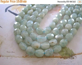 20% OFF ON SALE Aquamarine Faceted Oval 8mmx9mm, 10 pcs, Gemstone Beads