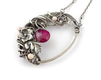 Wire wrap ruby necklace, romantic statement jewelry, sterling silver necklace,  gemstone jewelry