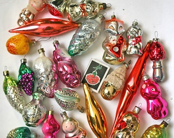 Vintage Christmas Decorations Glass Baubles Ornaments set of 20 Set 9  1970s from Russia Soviet Union USSR