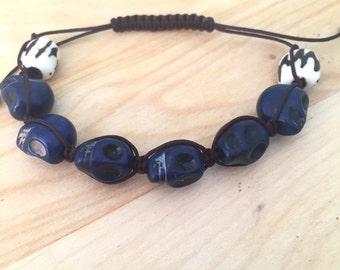 Mens Beaded Bracelet- Skull Bracelet- Halloween Jewelry- Shamballa Bracelet- Magnesite