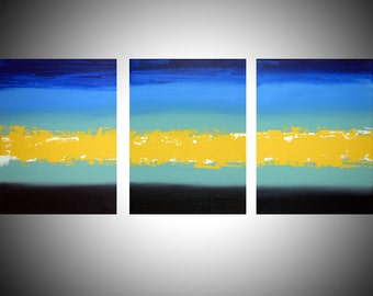 """triptych art 3 panel painting on canvas wall abstract acrylic """"Turquoise Flats """" 3 panel canvas abstract contemporary original 27x12"""