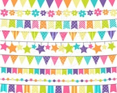 Pink Rainbow Bunting Cute Digital Clipart for Commercial or Personal Use, Flag Banner Clipart, Rainbow Clipart, Rainbow Flag Bunting