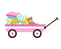 SALE Pink Wagon of Books Cute Digital Clipart, Book Wagon Clip art, Cute wagon full of books Graphic, Baby Books Illustration, #040