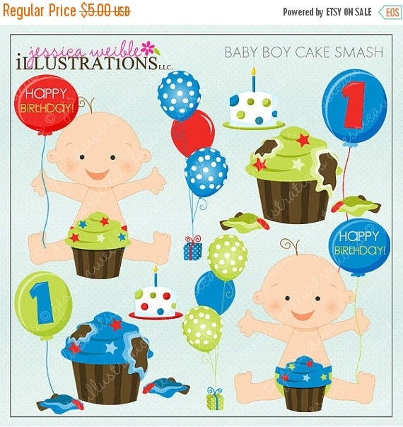 Smashed Cake Clipart : SALE Baby Boy Cake Smash Cute Digital Clipart by ...