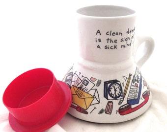 Funny Messy Desk Travel Mug, Vintage Feltman Langer Coffee Mug from 1988 (F3)