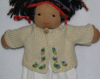 Waldorf style Doll Sweater for 13 inch doll RTG hand knit and hand embroidered