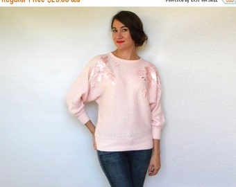 SummerS SALE 80s Soft Pink Beaded Sweater with Floral Applique, Medium