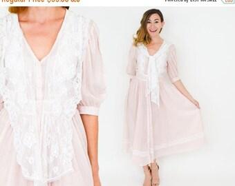 SummerS SALE Gunne Sax Dress | 70s Sheer Pink Peasant Prairie Dress | Extra Small