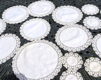 Vintage Antique Hand Crochet Luncheon 16 pc lot Doilies White Hand Made 1900's