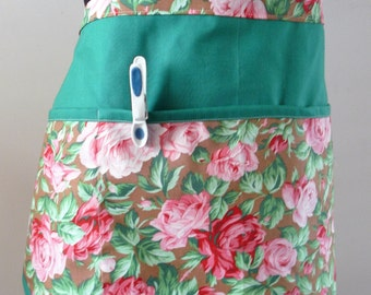 Peg bag or apron - petty pink delicate roses