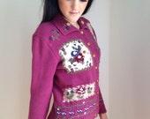 VALENTINES DAY SALE vintage sweater 1990s novelty cardigan boho retro purple burgundy floral 90s schoolgirl mori girl