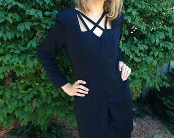 vintage 40s inspired dress / 80s does 40s/ film noir/ black dress/ long sleeve/ crossover bodice /size large
