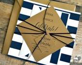 Diamond Wedding Invitation Suite with Belly Band - Navy, Antique Gold, Ivory (text + colors are customizable)