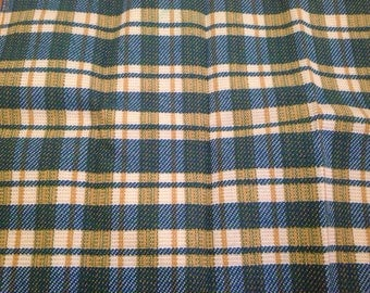 Vintage Retro Plaid Upholstery Fabric Blue Green Gold