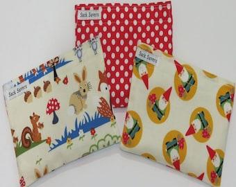 Reusable Snack Bag Set of Three Woodland Gnomes Polka Dots