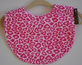 Baby Girl Leopard Pink Terry Cloth Snap Bib