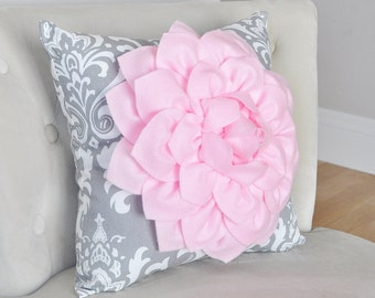 Nursery Damask Pillow. Light Pink Dahlia Flower on Gray and White Damask Pillow. Ozborne Damask Pillow.