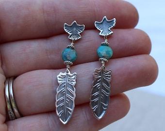 Southwestern earrings, Feather earrings, Raven/Crow earrings, sterling silver and turquoise earrings