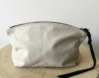 White leather clutch, white leather zipper pouch with rainbow zipper, cosmetics clutch