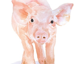 Pig Watercolor Painting Greeting Card - Blank 5x7