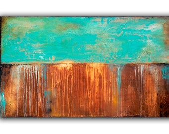 Turquoise Modern Large Painting 48x30 Canvas