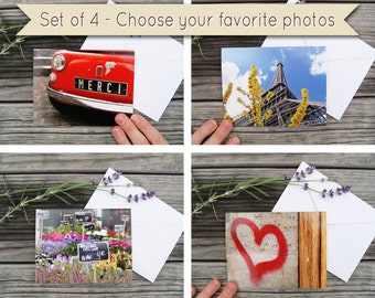 Set of 4 Paris Photo Notecards - You Choose Designs - Folded Cards with Envelopes, Blank Inside