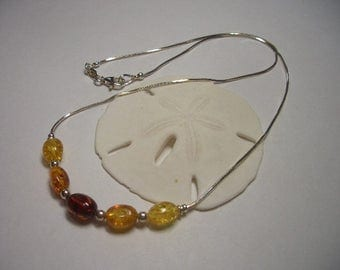 Natural Amber necklace, beautiful Amber beads, yellow, orange, sterling silver necklace, oval Amber beads, natural gemstone, dainty necklace