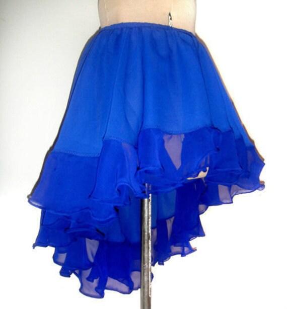 high low mini skirt blue chiffon with ruffle ameynra