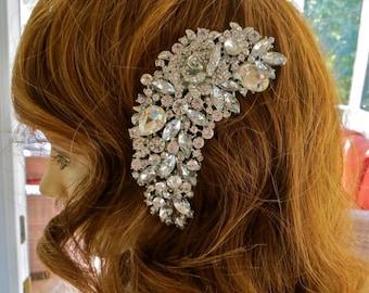 Sale, Sale, Sale, Rhinestone Pearl Comb, Crystal Bridal Comb, Bridal Rhinestone Headpiece, Wedding Rhinestone Comb