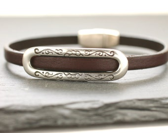 Leather Bracelet Leather Bangle Silver Bracelet Cowgirl Bangle Gift For Her Jewelry Under 50 Brown Bangle Skinny Bracelet Thin Bangle
