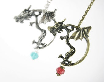 Couples Jewelry Set - Ice-Fire Dragon Necklace Women Men - Best Friend Couples Necklace -His Hers Matching Friendship Necklace Crystal