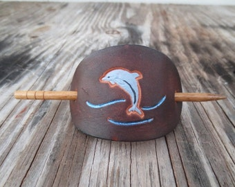 Small Leather Stick Barrette stamped with Dolphin